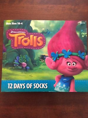 NEW girls Trolls 12 days of socks advent calendar shoe size 10-4