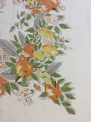 "Vintage Linen Kitchen Tablecloth Fruit and Daisy Print 47 x 49"" Summer Look"