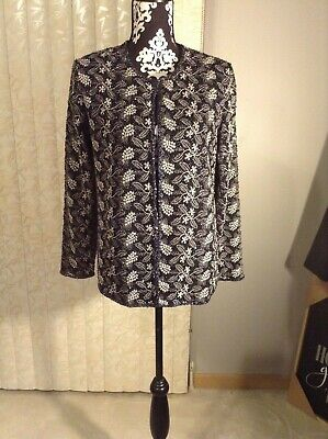 Womens J Laxmi Beaded Embroidered Leaf Floral Evening Jacket Silver Size Small for sale  Flossmoor