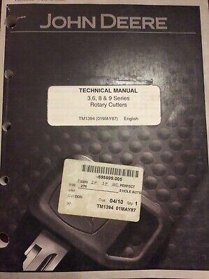 John Deere 3 6 8 9 Series Rotary Cutters Technical Manual Tm1394 Mower
