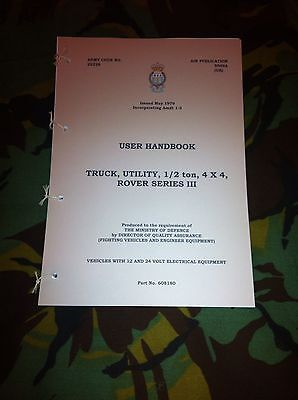 MILITARY LAND ROVER LIGHTWEIGHT AIRPORTABLE SERIES 3 HANDBOOK MANUAL 12V 24V FFR