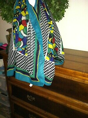 Huge Turquoise Bordered Black & White Checked Print Stole Wrap Scarf 70