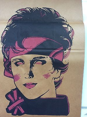 Vintage Topstone Brown Paper Bag Halloween Mask Evil Teen Girl Folded Unused - Paper Bag Halloween Mask