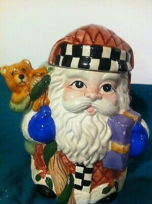 Small ceramic Santa cookie jar with some presents bear in bag (Ceramic Santa Cookie Jar)