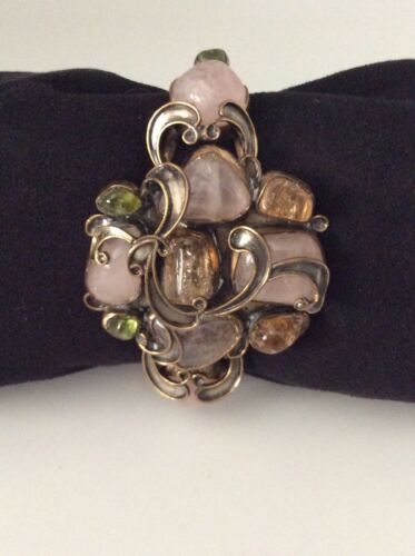 VEGA MADDUX Cuff Bracelet with Natural Stones - Signed