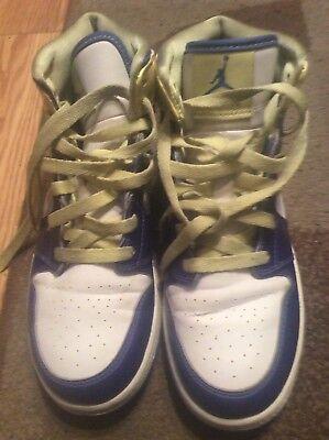 Nike Air Jordan 1 Mid (GS) White/Violet Force/Electric Yellow Kids 555112-118