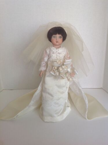"""Custom hand made OOAK porcelain bridal bride doll by Dilly Dolly USA 15"""" tall"""