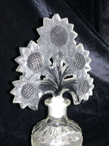 Imperial Glass Sunflower Crystal Clear Perfume Bottle with Tall Stopper