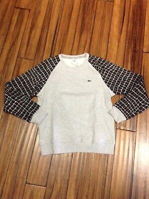 Lacoste L!ve Croc Print Crewneck Fleece Men's Sweatshirt Black (Fleece Print Sweatshirt)