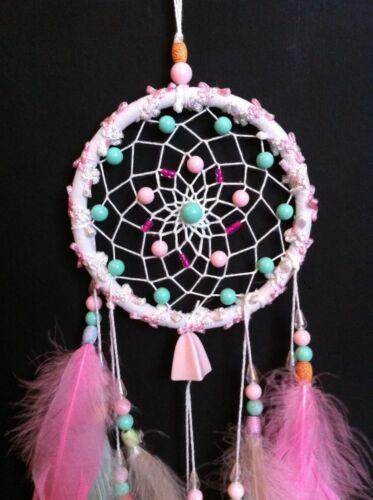 Cherokee Handmade Dream Catcher ~ Soft Baby Colors, Pink, Aqua, Yellow