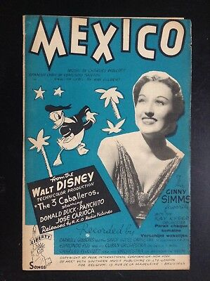 Ancienne partition Donald Duck Mexico Walt Disney