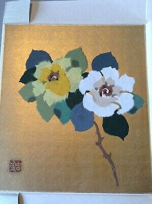 Collage Original Paper Art Flower Picture Signed