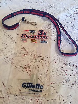 NEW ENGLAND PATRIOTS LANYARD TICKET BADGE HOLDER 3X CHAMPIONS