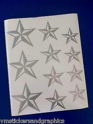 Tattoo Nautical Stars (Nautical Star sheet combo vinyl 11 stickers decals car truck boat suv tattoo emo)