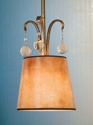 NIB Nice Gold-Finish Mini PENDANT LIGHT w/ Hand-Made Mica Shade & Crystal Accent ()