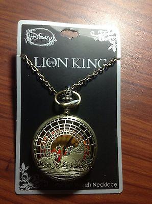 New Disney The Lion King Simba Pumbaa Timon Sunset Pocket Watch Pendant Necklace