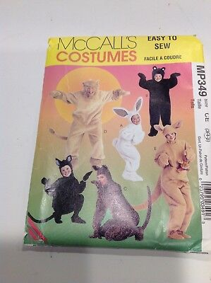 HALLOWEEN MCCALLS COSTUME PATTERN MP349 CHILD BUNNY LION BEAR CAT KANGAROO 3-5  - Cat Halloween Costume Pattern