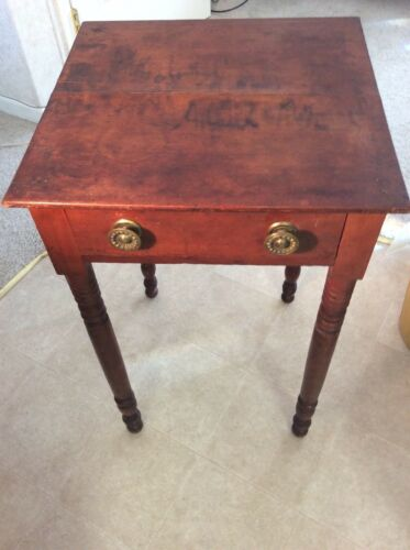 Antique19th American Sheraton Country Drawer Cherry Stand End Table All Original