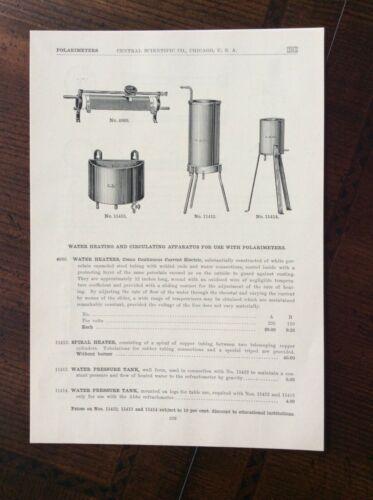 1923 vintage Catalog ad Central Scientific Company, Chicago - POLARIMETERS
