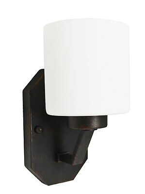 HOMEnhancements - 1 Light Vanity Hallway Rubbed Bronze White Glass Wall Sconce 1 Light Vanity Wall Sconce