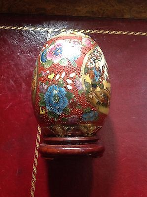 Chinese Satsuma Egg. Beautifully Decorated 18cm Tall Inc Base