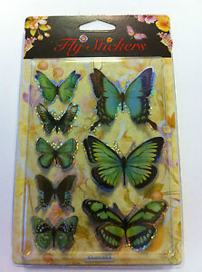3D Effect Butterfly Butterflies Craft Stickers White Blue Green
