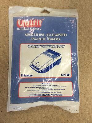 5 Vacuum Cleaner Paper Bags, Vintage Singer Compact Montenz Spinney Wertheim
