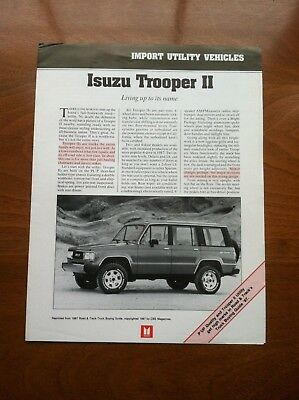 1987 ISUZU TROOPER II and P'UP SALES BROCHURE, DEALER HANDOUT, ORIGINAL ITEM
