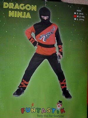 NEW Fancy Costume Boy Age 7-10 years Dragon Ninja Children Book day party UK (Ninja Kostüme Uk)