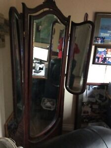 AntIque mirror with Side mirrors or called wings