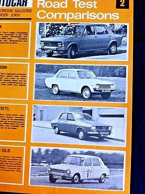 AUTOCAR ROAD TEST COMPARISONS 1970 - FIAT 128,MAZDA 1200,RENAULT 12TL,SIMCA1100