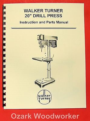 Walker-turner 20 Drill Press Operators Parts Manual 0757