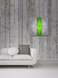 Modern Green Silver Wall Clock Contemporary Decor Large Metal Abstract Art Clock