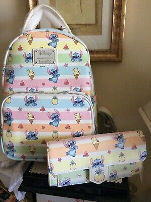 Loungefly Disney's Lilo and Stitch Fruits Mini Backpack & Wallet~New w/ Tags