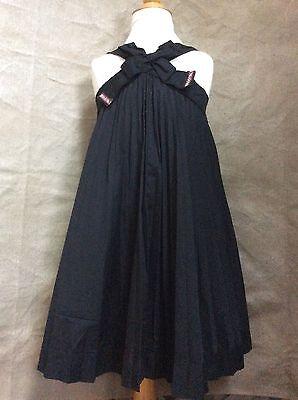 I PINCO PALLINO Girl 6 8 PLEATED PARTY DRESS Dramatic Bow FULL SKIRT Italy Black