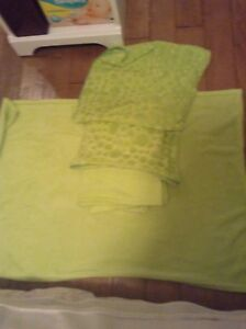 Soft lime green accent pillows