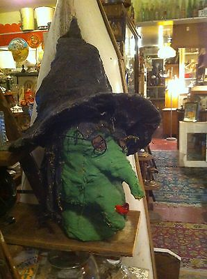 Vintage CreepyWitch's Head Scary Haunted House Halloween stage  Prop Hand made (Handmade Halloween Props)