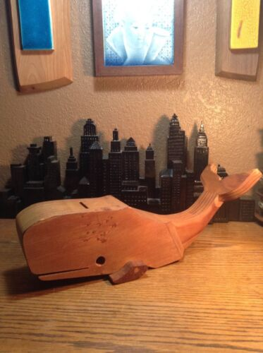 Rare Vintage Whale Wooden Coin Bank