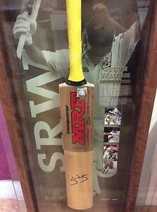 Steve Waugh signed and framed cricket bat limited edition Gaven Gold Coast City Preview
