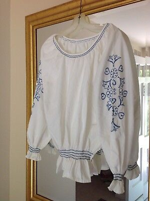 AUTHENTIC BLUE EMBROIDERED BOHO Bohemian Women's Blouse Handstitched!