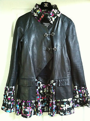 Chanel 11P Black Lambskin Leather Jacket Multicolor Trim Gripoix Pins FR38 $11K