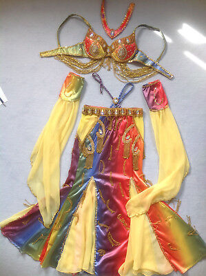 Bauchtanzkostüm Bauchtanz Kostüm Gr. 36 38 Elfenärmel regenbogenfarben neuwertig