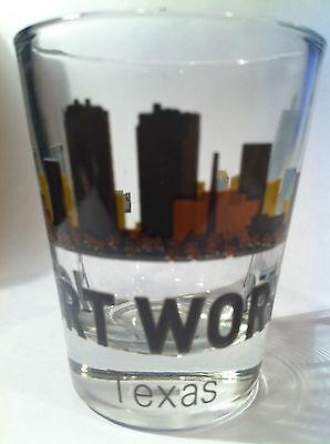 FORT WORTH TEXAS SUNSET SKYLINE SHOT GLASS SHOTGLASS