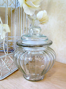 SMALL SWEET JAR GLASS CANDY POT VINTAGE CHIC STYLE STORAGE WEDDING FAVOUR