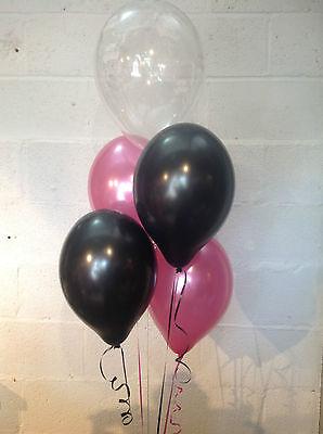 30 Black, Hot Pink and 'Happy Birthday' Range Pearlised Latex Balloons - Pink And Black Balloons