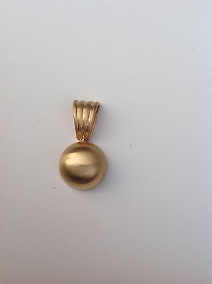- 14kt Yellow Gold Slider Pendant Charm Half Dome With A Satin Finish