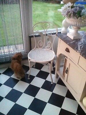 FRENCH VICTORIAN  SMALL WROUGHT IRON SOLID PRETTY BEDROOM CHAIR SHABBY CHIC