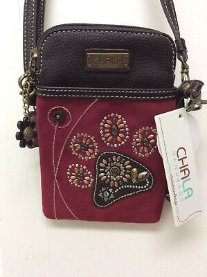 Chala Dazzled Dog Paw Print Cell Phone Crossbody Convertible Purse Red New   - Red Paw Print