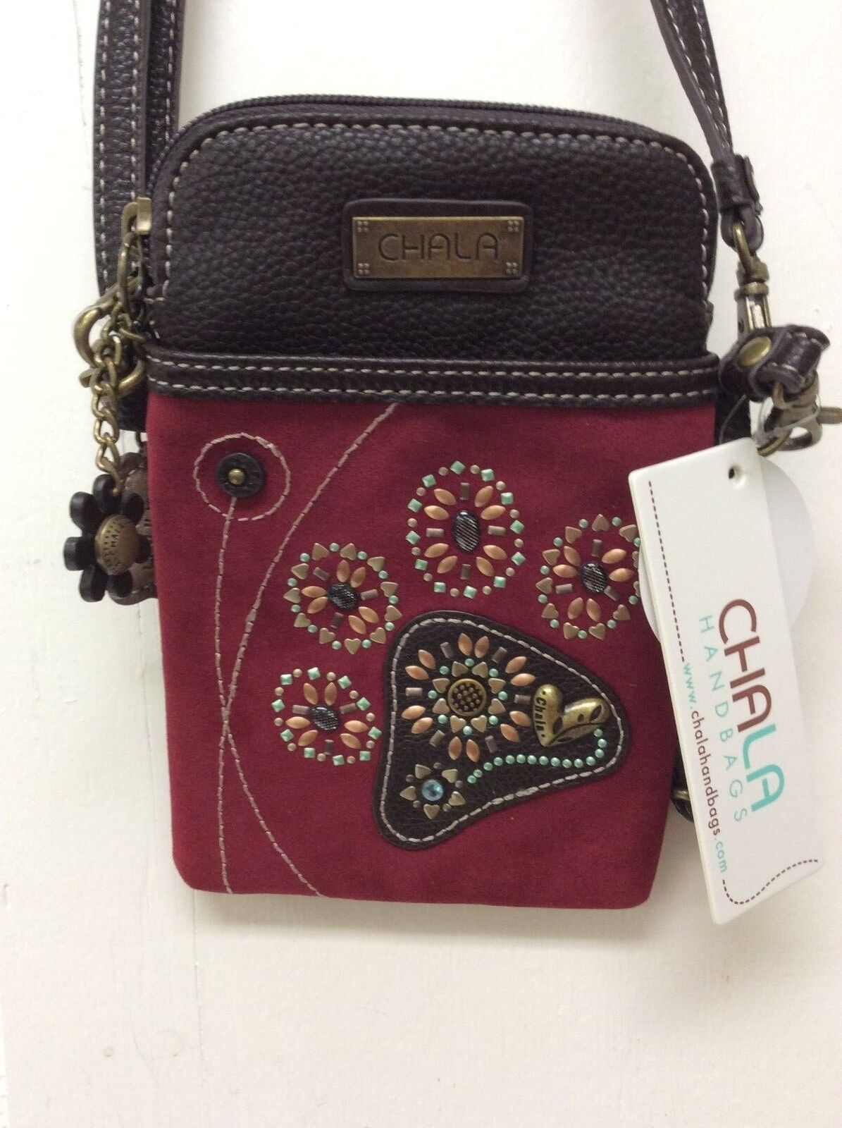 Chala Dazzled Dog Paw Print Cell Phone Crossbody Convertible