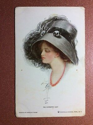 Antique postcard 1900s HARRISON FISHER woman fashion black hat feather red pearl